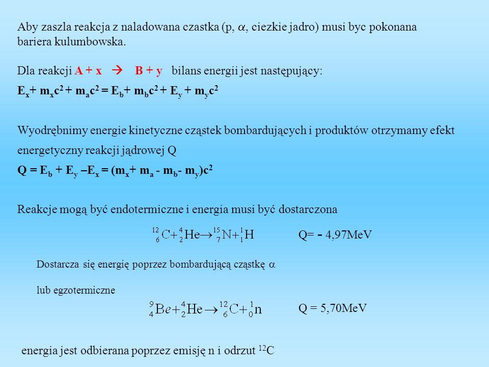 Z prawa zachowania pędu m x v x =m jz v jz po podniesieniu do kwadratu mamy: m x 2 v x 2 =m jz 2 v jz 2 E x m x =E jz m jz aby zaszła reakcja jądrowa energia pocisku E x musi być większa od Q o wartość energii progowej E jz E x = E jz - Q = Dla przeprowadzenia reakcji endotermicznej jest potrzebna nieco większa energia niż Q, tzw energia progowa.