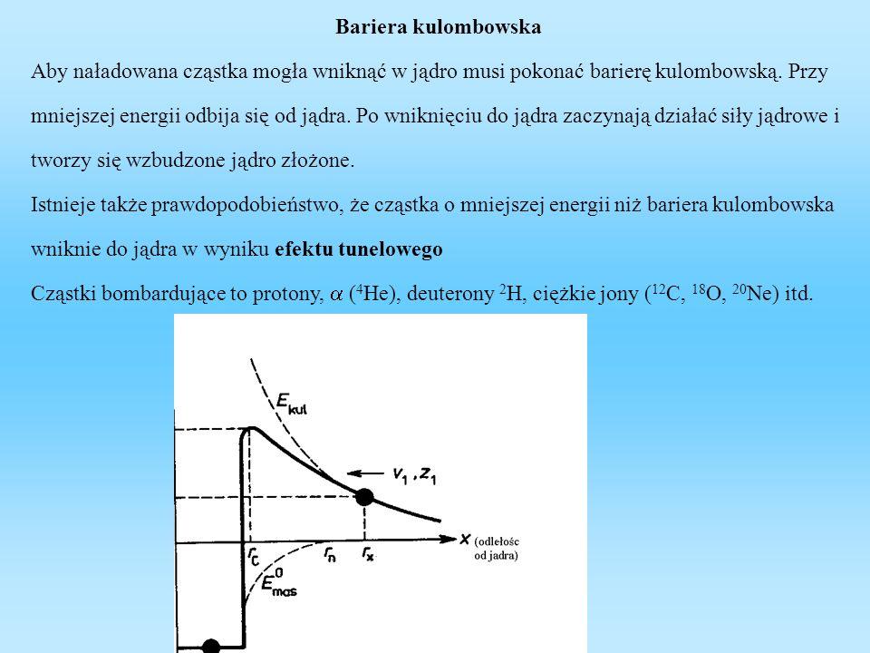 Wysokość bariery kulombowskiej dla reakcji jądrowych Reakcja jądrowa Wysokość bariery kulombowskiej(MeV) 12 C + 1 H2,19 238 U + 1 H14,24 14 N + 4 He4,99 238 U + 4 He26,65 238 U + 12 C75,78 238 U + 238 U1514,7