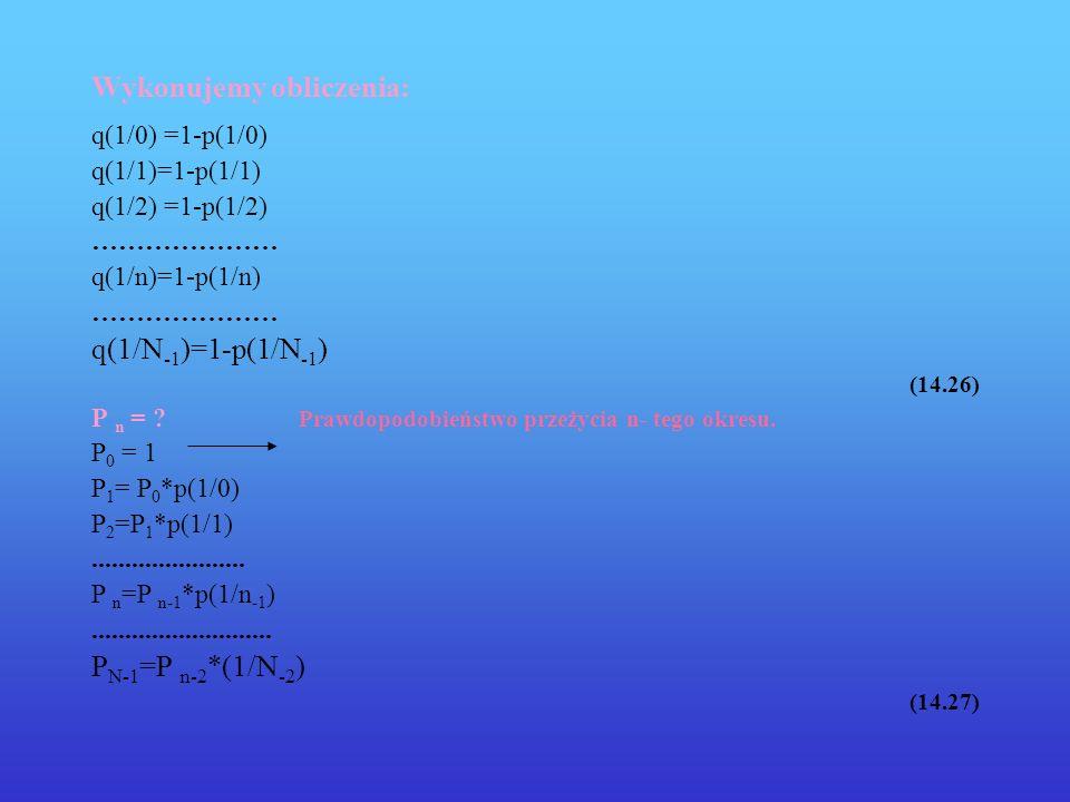 Wykonujemy obliczenia: q(1/0) =1-p(1/0) q(1/1)=1-p(1/1) q(1/2) =1-p(1/2) ………………… q(1/n)=1-p(1/n) ………………… q(1/N -1 )=1-p(1/N -1 ) (14.26) P n = ? Prawd