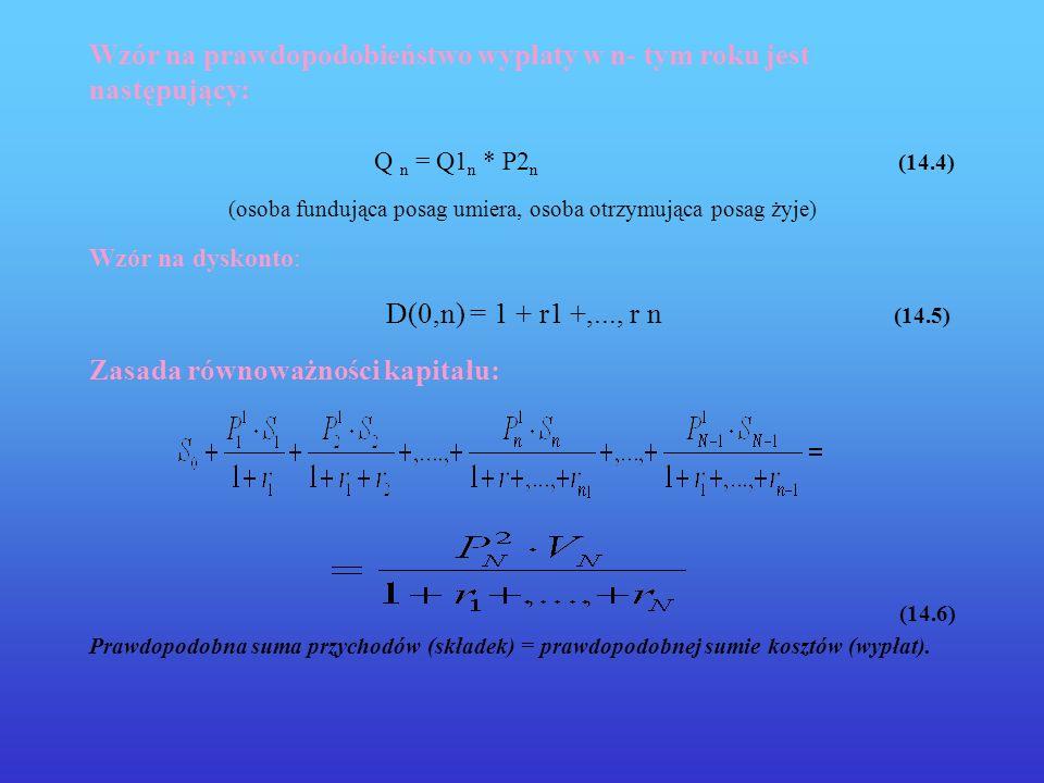 Wzór na prawdopodobieństwo wypłaty w n- tym roku jest następujący: Q n = Q1 n * P2 n (14.4) (osoba fundująca posag umiera, osoba otrzymująca posag żyj