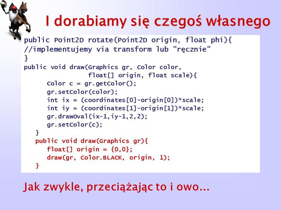 I dorabiamy się czegoś własnego public Point2D rotate(Point2D origin, float phi){ //implementujemy via transform lub