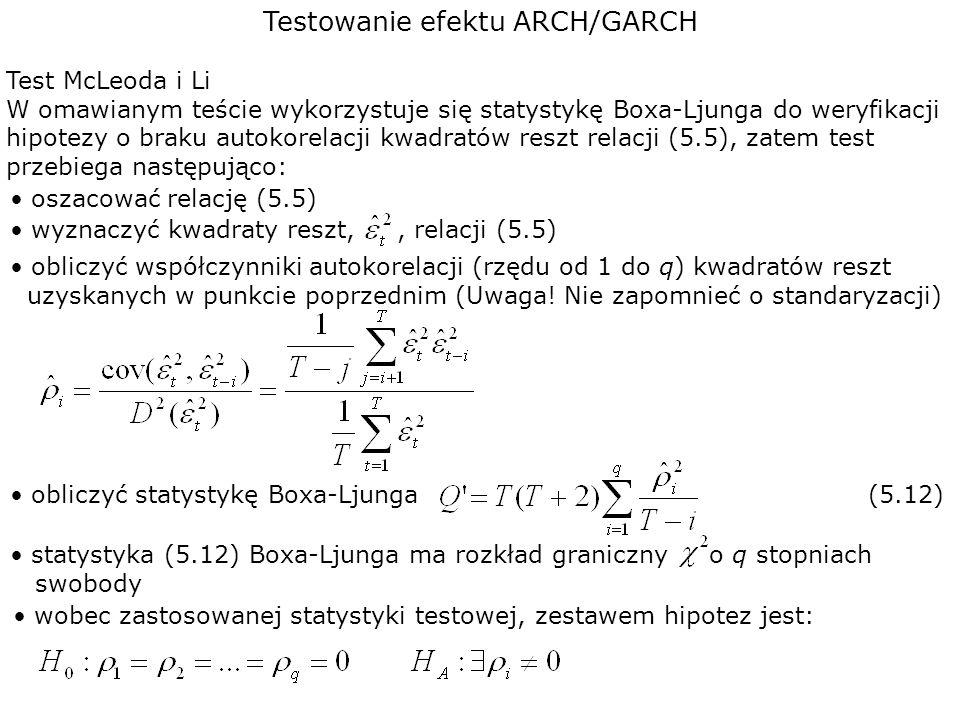 Testowanie efektu ARCH/GARCH Test McLeoda i Li W omawianym teście wykorzystuje się statystykę Boxa-Ljunga do weryfikacji hipotezy o braku autokorelacj