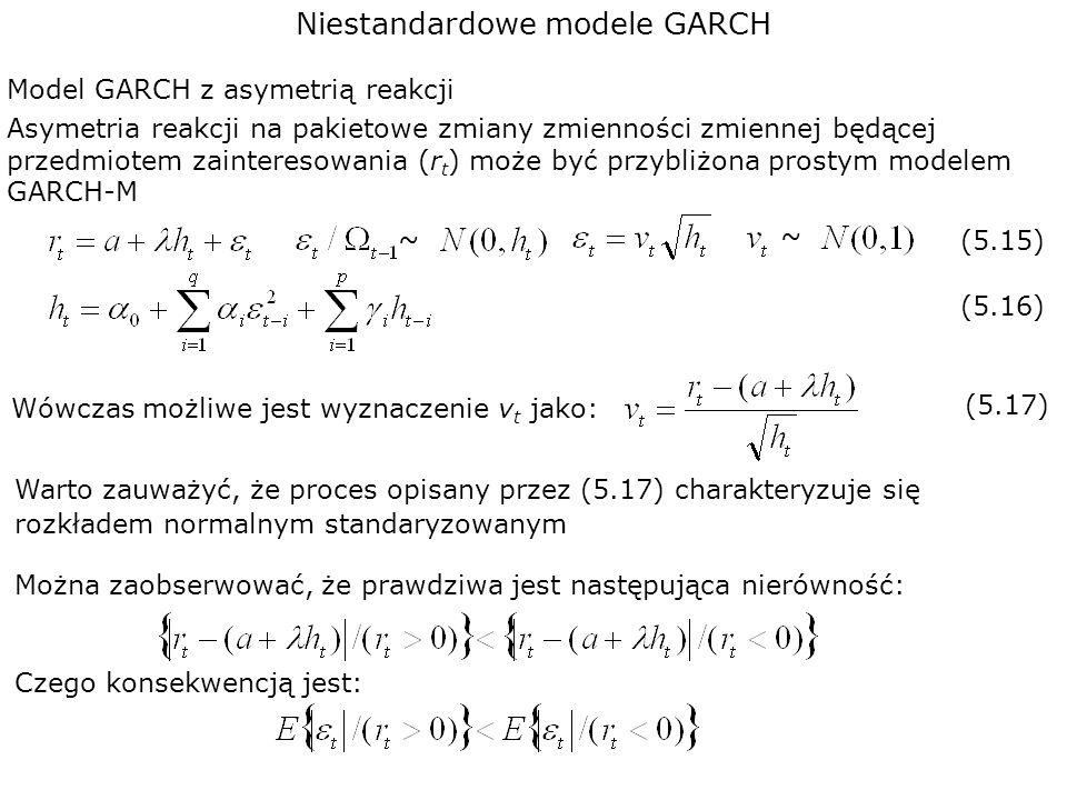 Niestandardowe modele GARCH Model GARCH z asymetrią reakcji Wówczas możliwe jest wyznaczenie v t jako: Asymetria reakcji na pakietowe zmiany zmiennośc