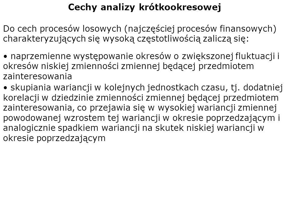 Cechy analizy krótkookresowej Do cech procesów losowych (najczęściej procesów finansowych) charakteryzujących się wysoką częstotliwością zaliczą się:
