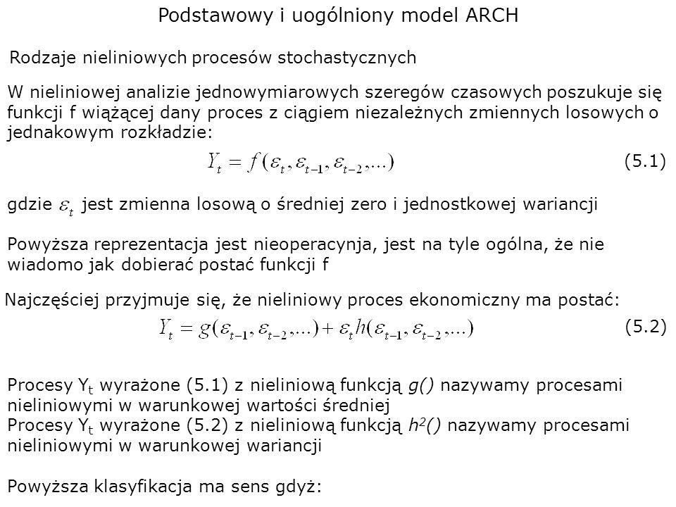 Podstawowy i uogólniony model ARCH Rodzaje nieliniowych procesów stochastycznych W nieliniowej analizie jednowymiarowych szeregów czasowych poszukuje