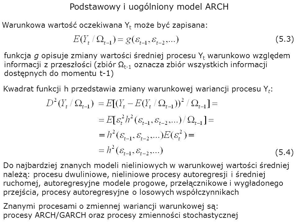 Podstawowy i uogólniony model ARCH Kwadrat funkcji h przedstawia zmiany warunkowej wariancji procesu Y t : (5.4) Warunkowa wartość oczekiwana Y t może