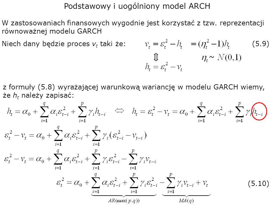 Podstawowy i uogólniony model ARCH W zastosowaniach finansowych wygodnie jest korzystać z tzw. reprezentacji równoważnej modelu GARCH Niech dany będzi