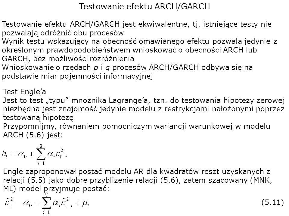 Testowanie efektu ARCH/GARCH Testowanie efektu ARCH/GARCH jest ekwiwalentne, tj. istniejące testy nie pozwalają odróżnić obu procesów Wynik testu wska