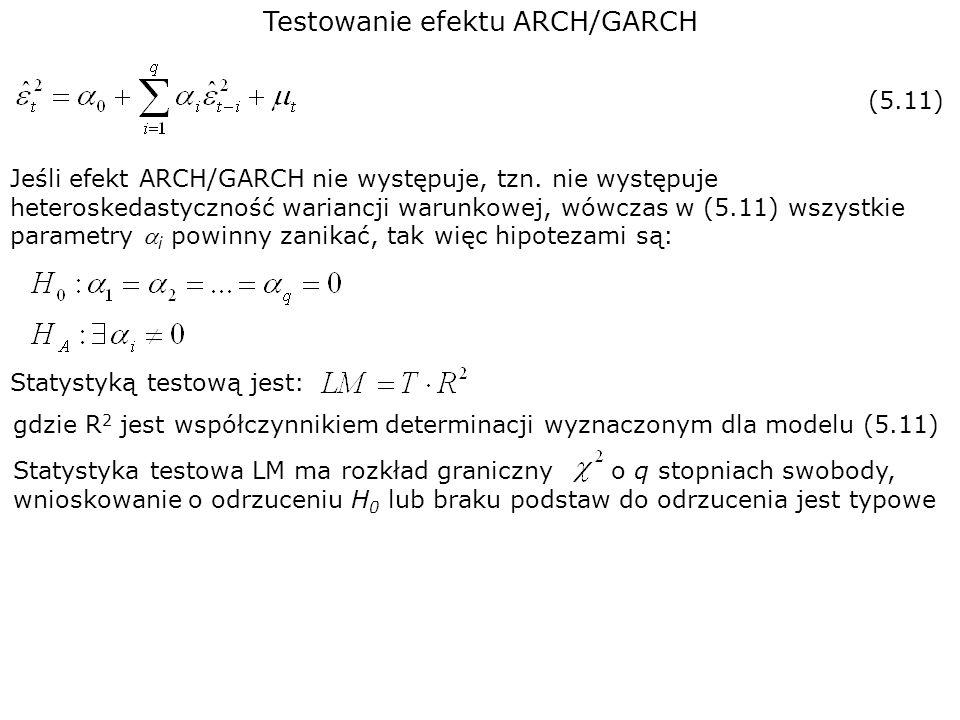 Testowanie efektu ARCH/GARCH Jeśli efekt ARCH/GARCH nie występuje, tzn. nie występuje heteroskedastyczność wariancji warunkowej, wówczas w (5.11) wszy