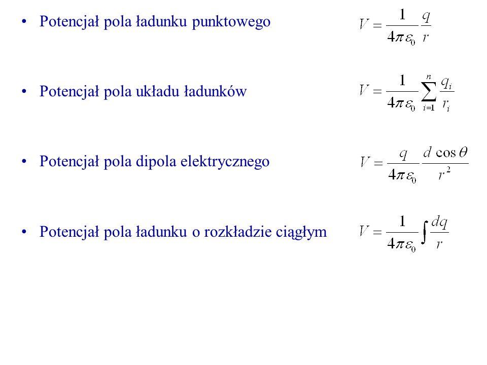 Potencjał pola ładunku punktowego Potencjał pola układu ładunków Potencjał pola dipola elektrycznego Potencjał pola ładunku o rozkładzie ciągłym