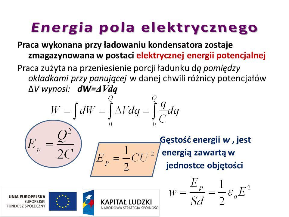 Praca wykonana przy ładowaniu kondensatora zostaje zmagazynowana w postaci elektrycznej energii potencjalnej Praca zużyta na przeniesienie porcji ładu