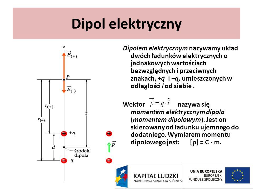 Dipolem elektrycznym nazywamy układ dwóch ładunków elektrycznych o jednakowych wartościach bezwzględnych i przeciwnych znakach, +q i q, umieszczonych