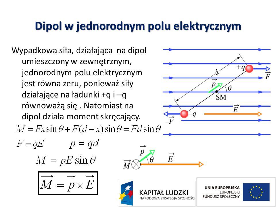 Dipol w jednorodnym polu elektrycznym Wypadkowa siła, działająca na dipol umieszczony w zewnętrznym, jednorodnym polu elektrycznym jest równa zeru, po