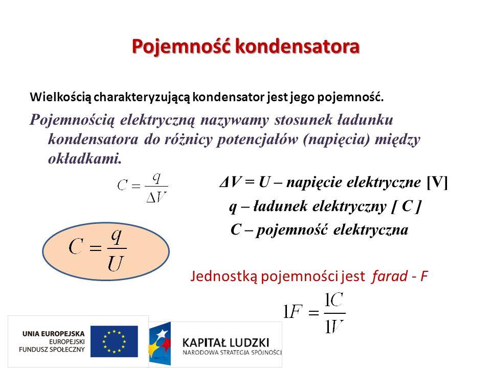 Pojemność kondensatora Wielkością charakteryzującą kondensator jest jego pojemność. Pojemnością elektryczną nazywamy stosunek ładunku kondensatora do
