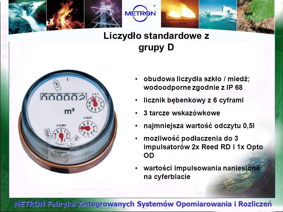 METRON Fabryka Zintegrowanych Systemów Opomiarowania i Rozliczeń Liczydło standardowe z grupy D obudowa liczydła szkło / miedź; wodoodporne zgodnie z