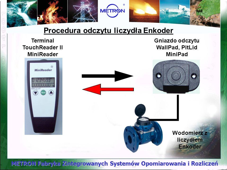 METRON Fabryka Zintegrowanych Systemów Opomiarowania i Rozliczeń Procedura odczytu liczydła Enkoder Gniazdo odczytu WallPad, PitLid MiniPad Terminal T