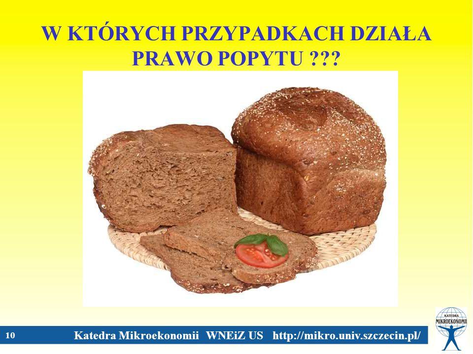 Katedra Mikroekonomii WNEiZ US http://mikro.univ.szczecin.pl/ 10 W KTÓRYCH PRZYPADKACH DZIAŁA PRAWO POPYTU ???