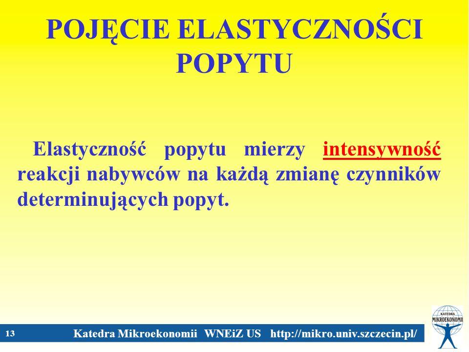 Katedra Mikroekonomii WNEiZ US http://mikro.univ.szczecin.pl/ 13 POJĘCIE ELASTYCZNOŚCI POPYTU Elastyczność popytu mierzy intensywność reakcji nabywców