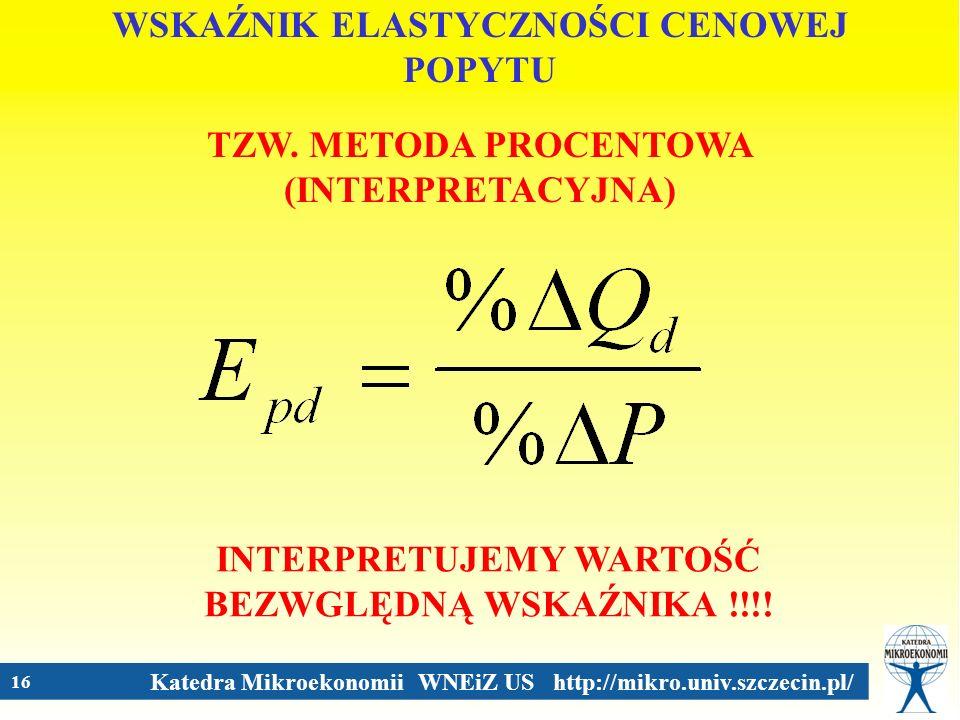 Katedra Mikroekonomii WNEiZ US http://mikro.univ.szczecin.pl/ 16 WSKAŹNIK ELASTYCZNOŚCI CENOWEJ POPYTU TZW. METODA PROCENTOWA (INTERPRETACYJNA) INTERP