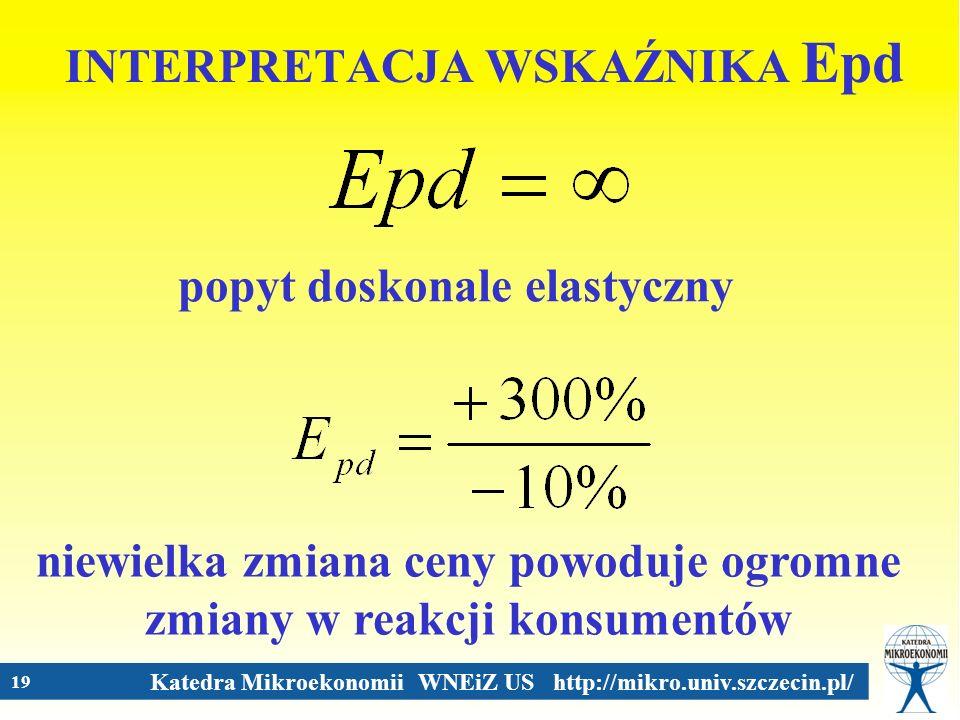 Katedra Mikroekonomii WNEiZ US http://mikro.univ.szczecin.pl/ 19 INTERPRETACJA WSKAŹNIKA Epd popyt doskonale elastyczny niewielka zmiana ceny powoduje