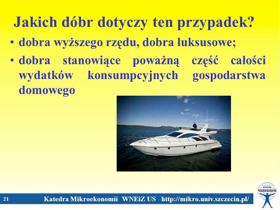 Katedra Mikroekonomii WNEiZ US http://mikro.univ.szczecin.pl/ 21 Jakich dóbr dotyczy ten przypadek? dobra wyższego rzędu, dobra luksusowe; dobra stano