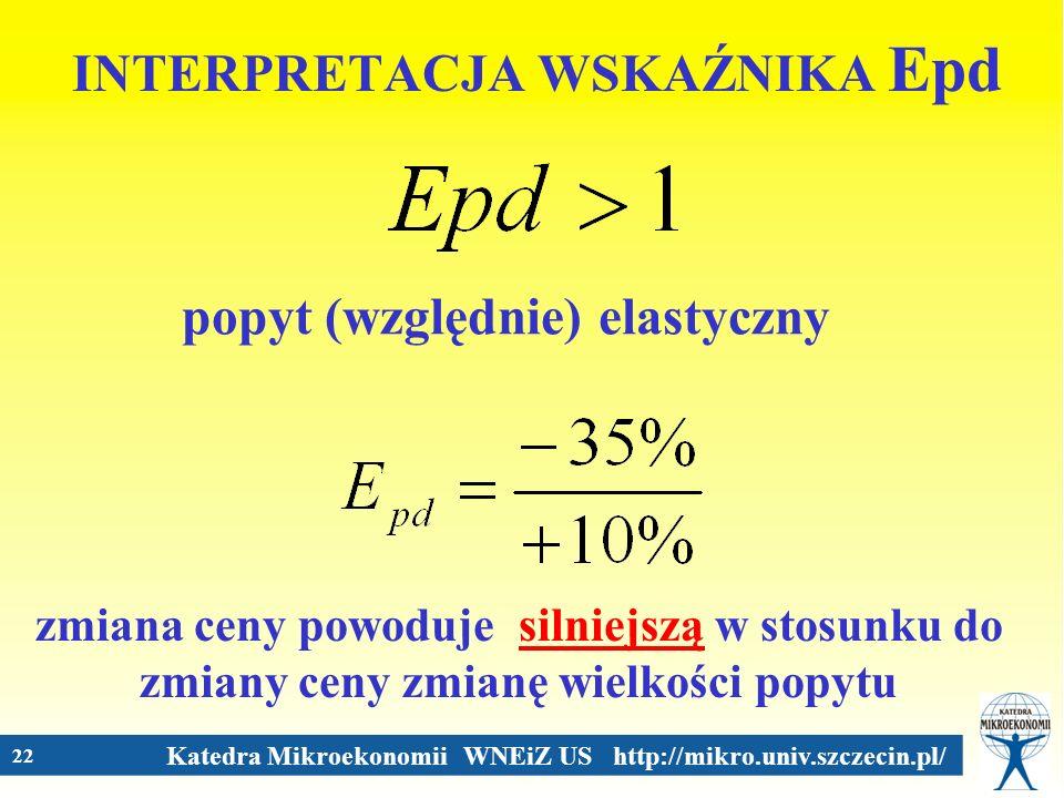 Katedra Mikroekonomii WNEiZ US http://mikro.univ.szczecin.pl/ 22 INTERPRETACJA WSKAŹNIKA Epd popyt (względnie) elastyczny zmiana ceny powoduje silniej