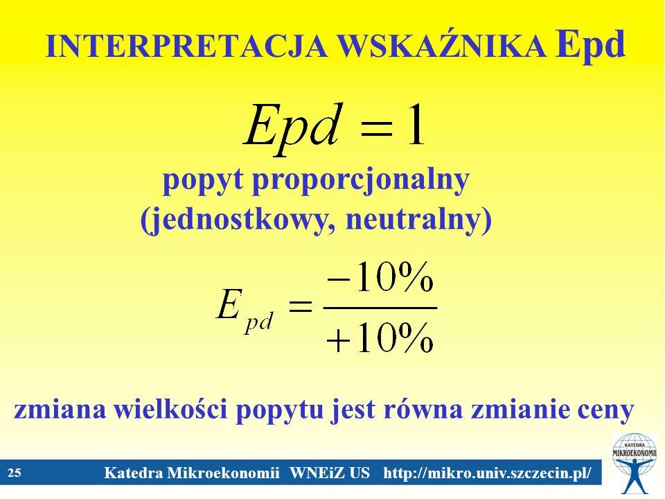 Katedra Mikroekonomii WNEiZ US http://mikro.univ.szczecin.pl/ 25 INTERPRETACJA WSKAŹNIKA Epd popyt proporcjonalny (jednostkowy, neutralny) zmiana wiel