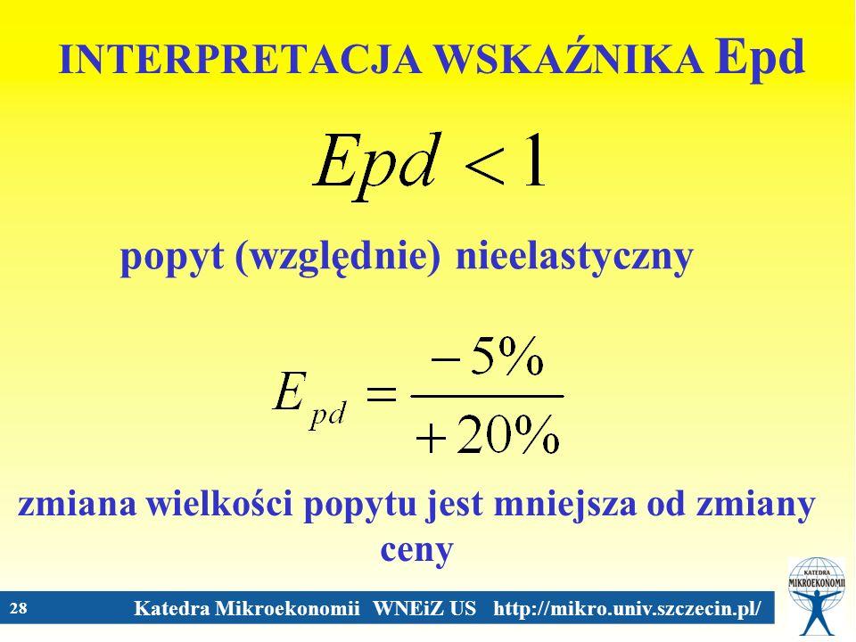 Katedra Mikroekonomii WNEiZ US http://mikro.univ.szczecin.pl/ 28 INTERPRETACJA WSKAŹNIKA Epd popyt (względnie) nieelastyczny zmiana wielkości popytu j
