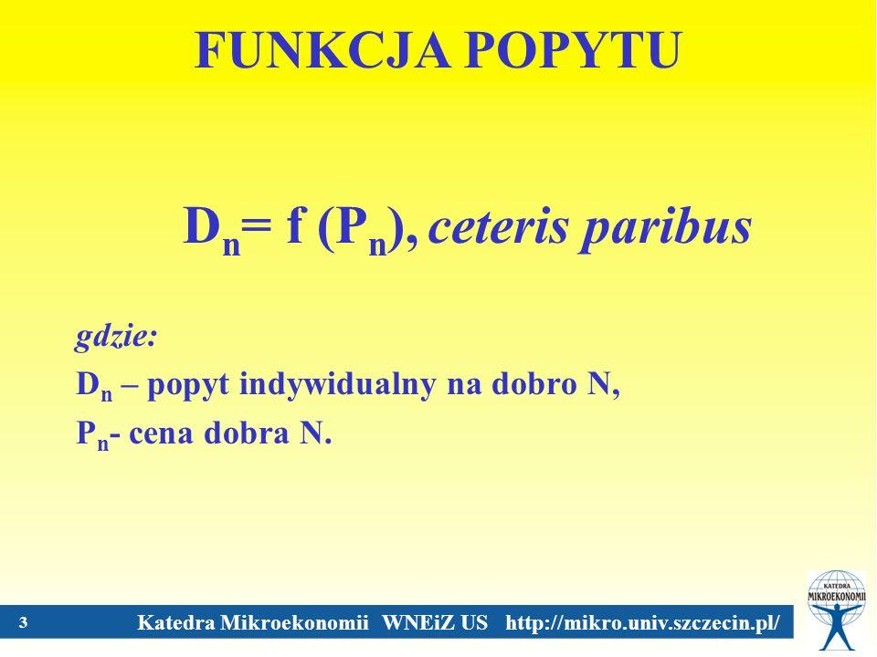 Katedra Mikroekonomii WNEiZ US http://mikro.univ.szczecin.pl/ 3 FUNKCJA POPYTU D n = f (P n ), ceteris paribus gdzie: D n – popyt indywidualny na dobr