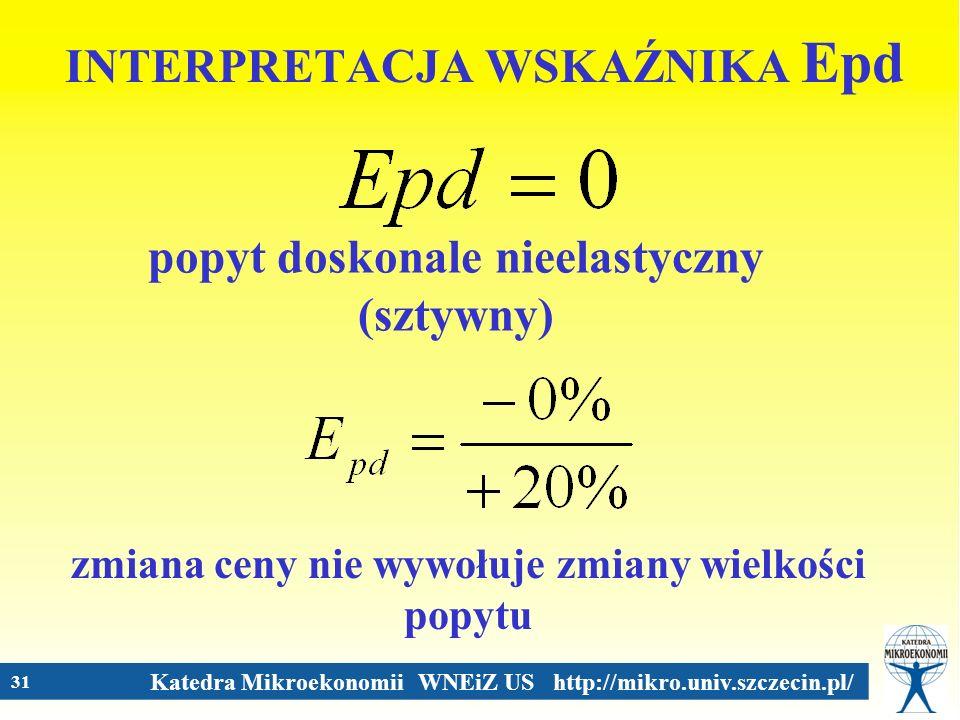 Katedra Mikroekonomii WNEiZ US http://mikro.univ.szczecin.pl/ 31 INTERPRETACJA WSKAŹNIKA Epd popyt doskonale nieelastyczny (sztywny) zmiana ceny nie w