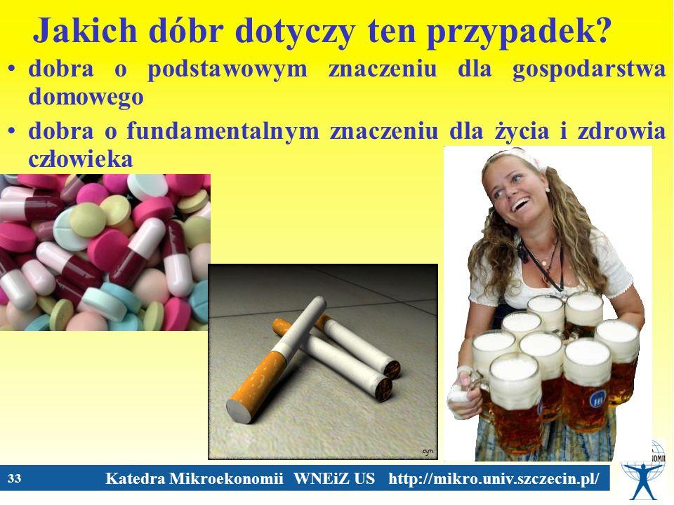 Katedra Mikroekonomii WNEiZ US http://mikro.univ.szczecin.pl/ 33 Jakich dóbr dotyczy ten przypadek? dobra o podstawowym znaczeniu dla gospodarstwa dom