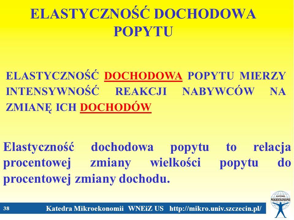 Katedra Mikroekonomii WNEiZ US http://mikro.univ.szczecin.pl/ 38 ELASTYCZNOŚĆ DOCHODOWA POPYTU ELASTYCZNOŚĆ DOCHODOWA POPYTU MIERZY INTENSYWNOŚĆ REAKC