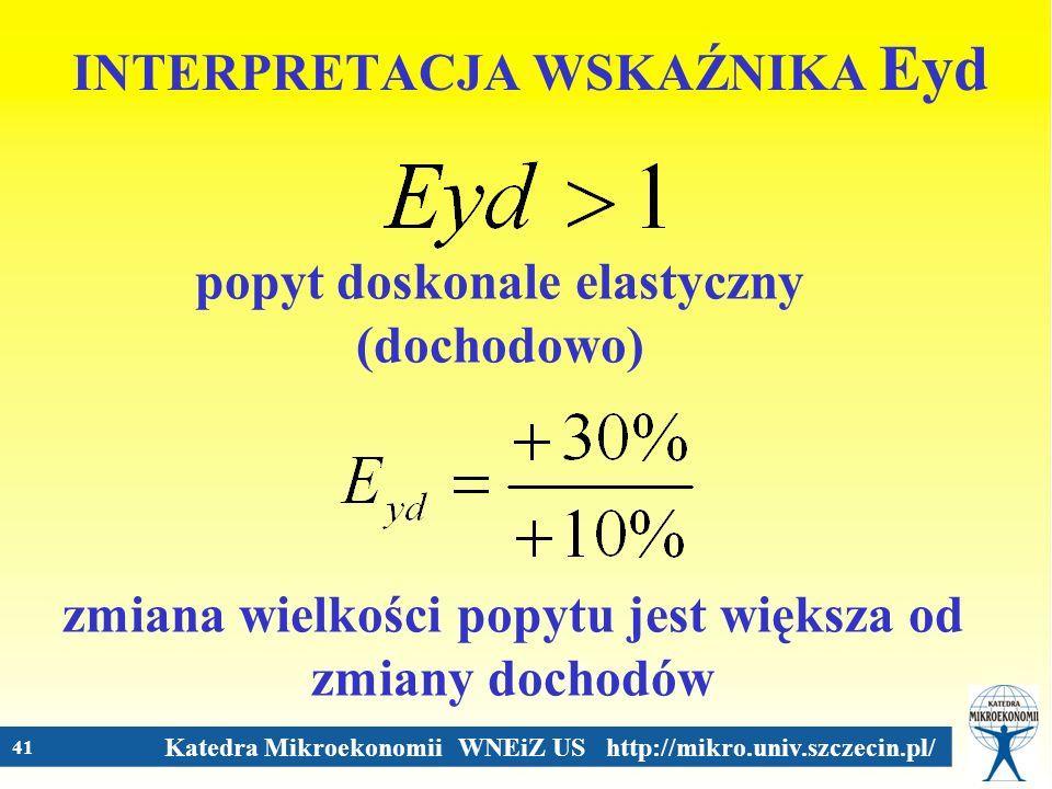 Katedra Mikroekonomii WNEiZ US http://mikro.univ.szczecin.pl/ 41 INTERPRETACJA WSKAŹNIKA Eyd popyt doskonale elastyczny (dochodowo) zmiana wielkości p