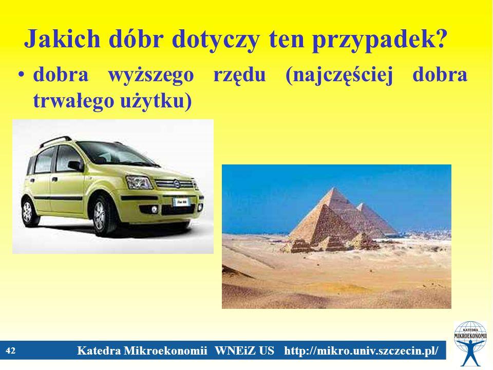 Katedra Mikroekonomii WNEiZ US http://mikro.univ.szczecin.pl/ 42 Jakich dóbr dotyczy ten przypadek? dobra wyższego rzędu (najczęściej dobra trwałego u