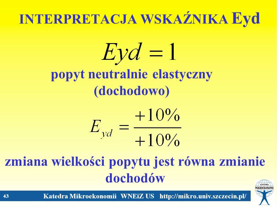 Katedra Mikroekonomii WNEiZ US http://mikro.univ.szczecin.pl/ 43 INTERPRETACJA WSKAŹNIKA Eyd popyt neutralnie elastyczny (dochodowo) zmiana wielkości