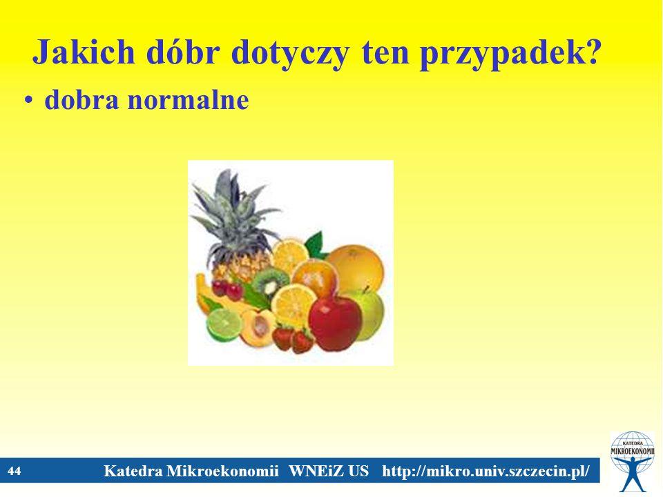 Katedra Mikroekonomii WNEiZ US http://mikro.univ.szczecin.pl/ 44 Jakich dóbr dotyczy ten przypadek? dobra normalne