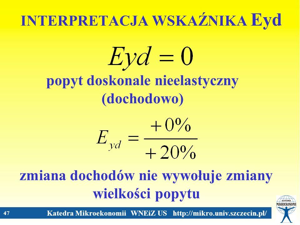 Katedra Mikroekonomii WNEiZ US http://mikro.univ.szczecin.pl/ 47 INTERPRETACJA WSKAŹNIKA Eyd popyt doskonale nieelastyczny (dochodowo) zmiana dochodów