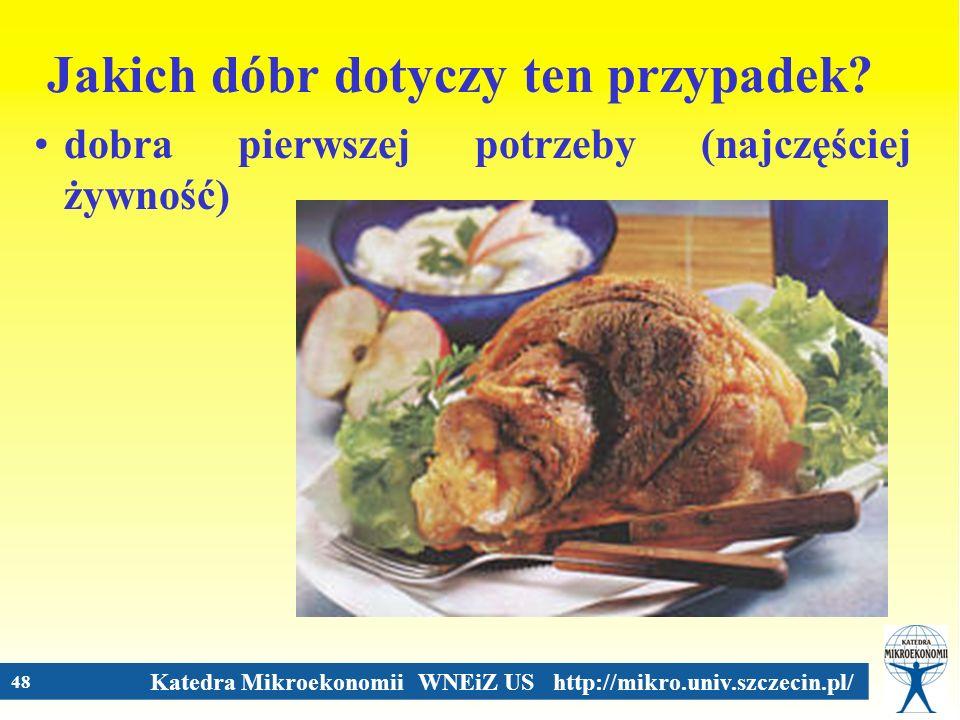 Katedra Mikroekonomii WNEiZ US http://mikro.univ.szczecin.pl/ 48 Jakich dóbr dotyczy ten przypadek? dobra pierwszej potrzeby (najczęściej żywność)