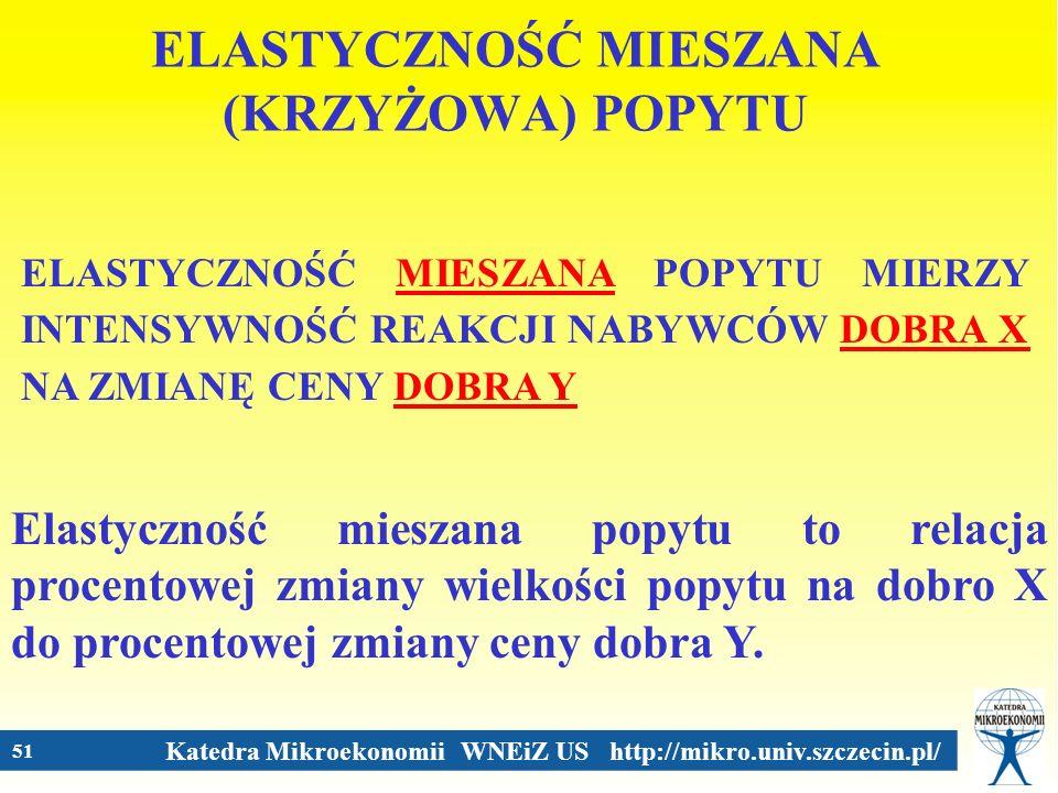 Katedra Mikroekonomii WNEiZ US http://mikro.univ.szczecin.pl/ 51 ELASTYCZNOŚĆ MIESZANA (KRZYŻOWA) POPYTU ELASTYCZNOŚĆ MIESZANA POPYTU MIERZY INTENSYWN