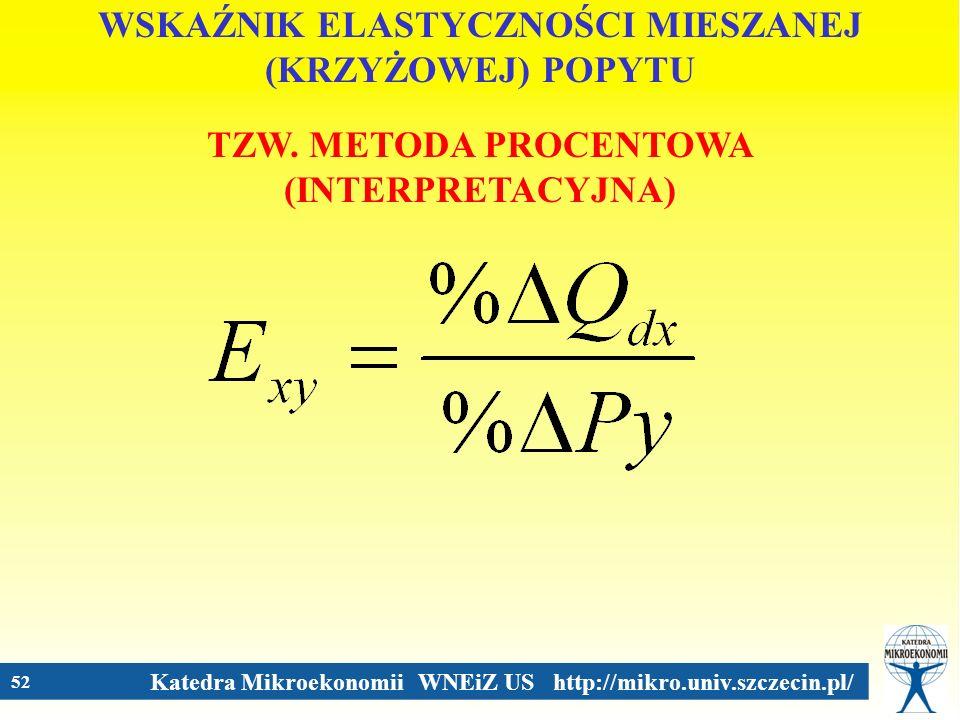 Katedra Mikroekonomii WNEiZ US http://mikro.univ.szczecin.pl/ 52 WSKAŹNIK ELASTYCZNOŚCI MIESZANEJ (KRZYŻOWEJ) POPYTU TZW. METODA PROCENTOWA (INTERPRET