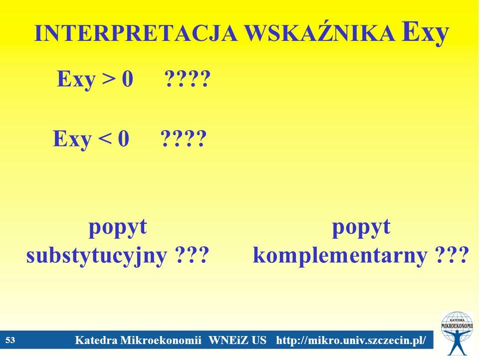 Katedra Mikroekonomii WNEiZ US http://mikro.univ.szczecin.pl/ 53 INTERPRETACJA WSKAŹNIKA Exy Exy > 0 ???? Exy < 0 ???? popyt substytucyjny ??? popyt k