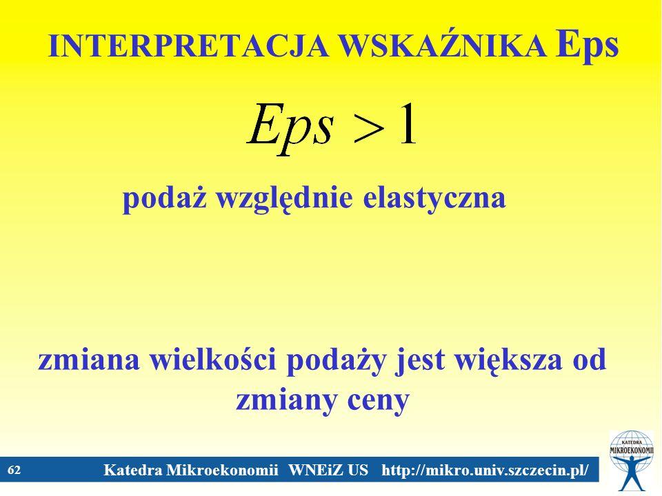 Katedra Mikroekonomii WNEiZ US http://mikro.univ.szczecin.pl/ 62 INTERPRETACJA WSKAŹNIKA Eps podaż względnie elastyczna zmiana wielkości podaży jest w