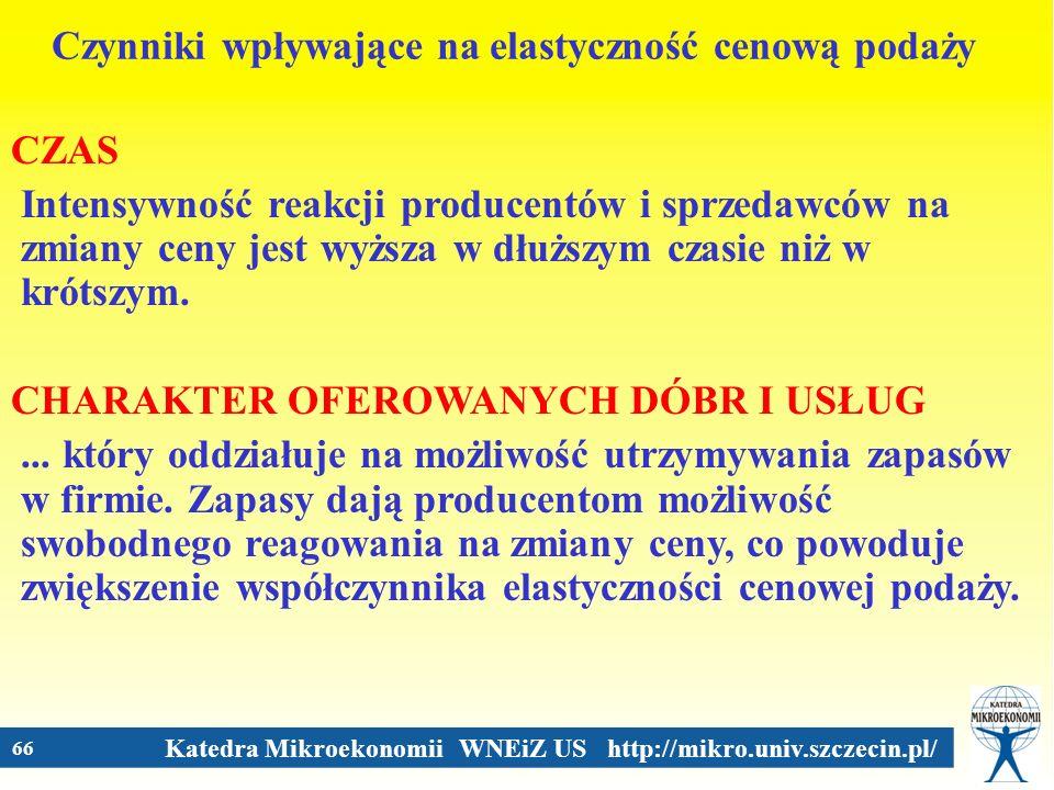 Katedra Mikroekonomii WNEiZ US http://mikro.univ.szczecin.pl/ 66 Czynniki wpływające na elastyczność cenową podaży CZAS Intensywność reakcji producent