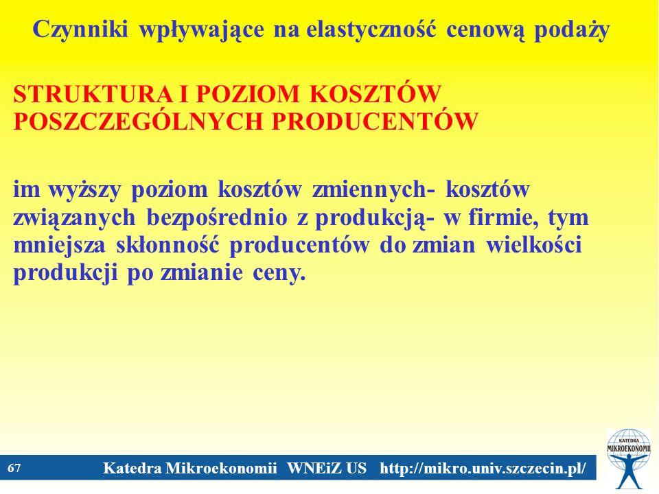 Katedra Mikroekonomii WNEiZ US http://mikro.univ.szczecin.pl/ 67 Czynniki wpływające na elastyczność cenową podaży STRUKTURA I POZIOM KOSZTÓW POSZCZEG