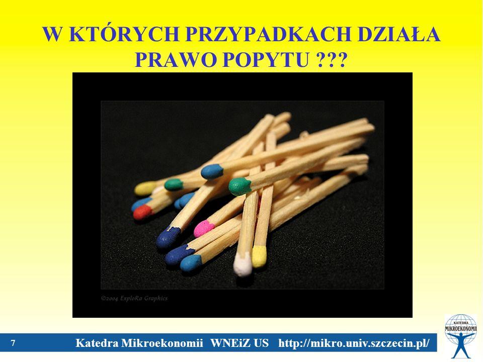 Katedra Mikroekonomii WNEiZ US http://mikro.univ.szczecin.pl/ 7 W KTÓRYCH PRZYPADKACH DZIAŁA PRAWO POPYTU ???