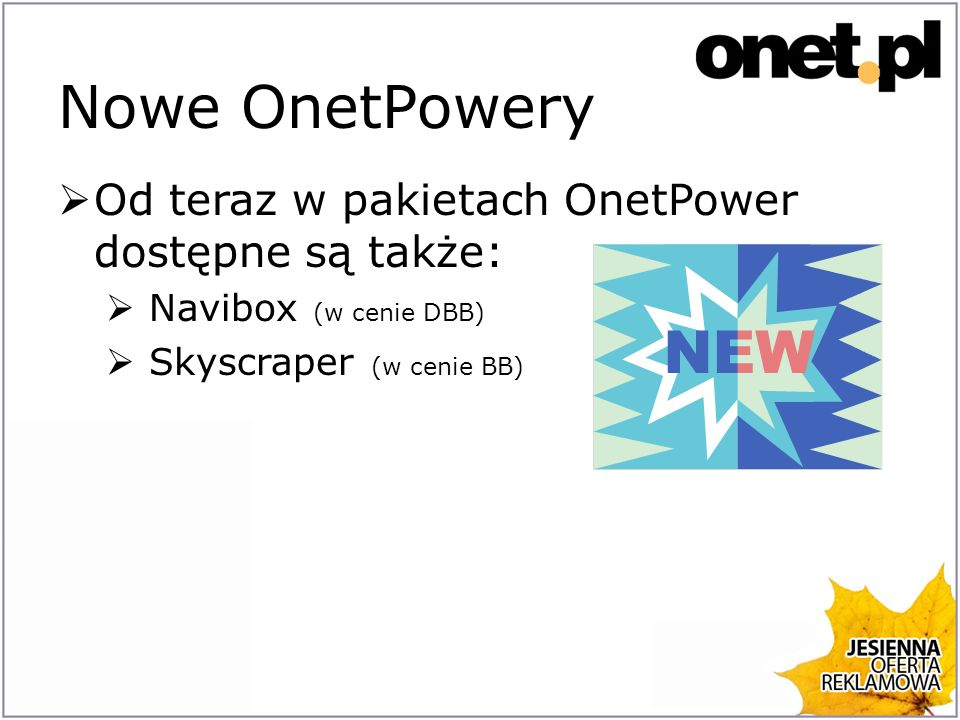 Nowe OnetPowery Od teraz w pakietach OnetPower dostępne są także: Navibox (w cenie DBB) Skyscraper (w cenie BB)