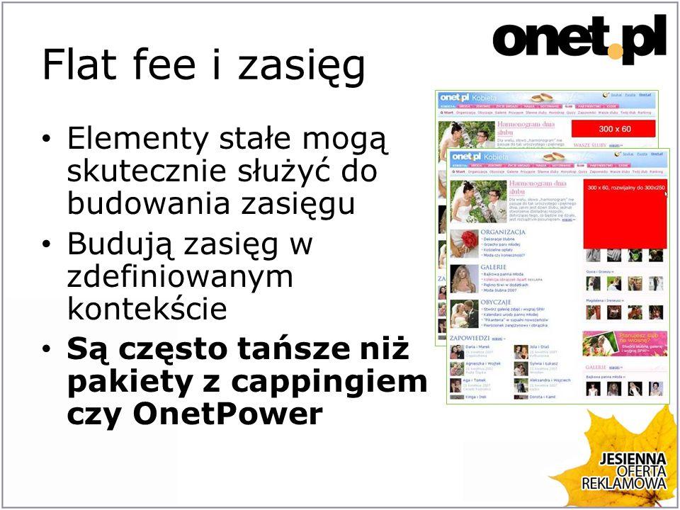 Flat fee i zasięg - przykład Serwis muzyka.onet.pl, 96 mln pv miesięcznie Koszt boxu rozwijanego na miesiąc to 84 tys.