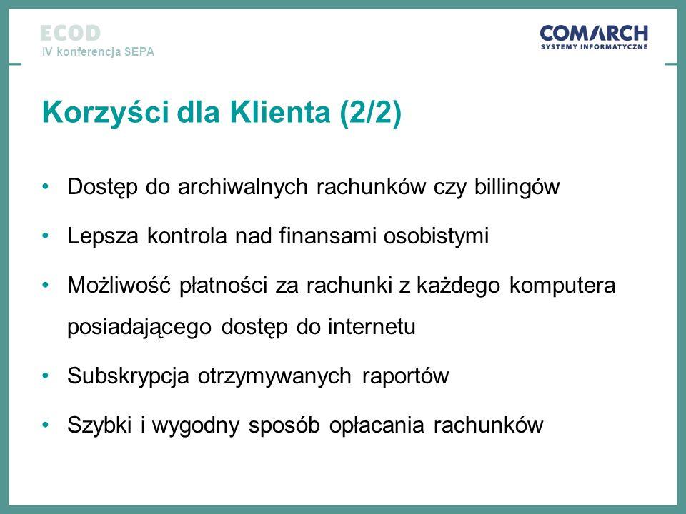 IV konferencja SEPA Korzyści dla Klienta (2/2) Dostęp do archiwalnych rachunków czy billingów Lepsza kontrola nad finansami osobistymi Możliwość płatn