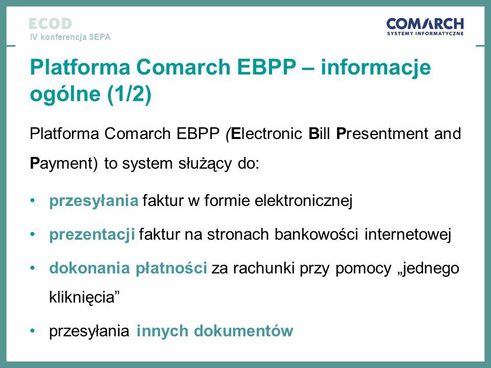 IV konferencja SEPA Platforma Comarch EBPP – informacje ogólne (1/2) Platforma Comarch EBPP (Electronic Bill Presentment and Payment) to system służąc