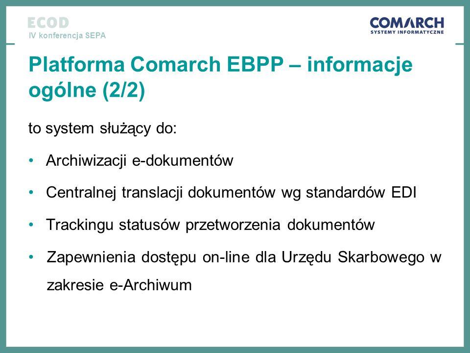IV konferencja SEPA Platforma Comarch EBPP – informacje ogólne (2/2) to system służący do: Archiwizacji e-dokumentów Centralnej translacji dokumentów